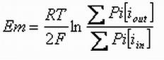 Sehingga apabila konsentrasi ion K diketahui, potensial membran dapat